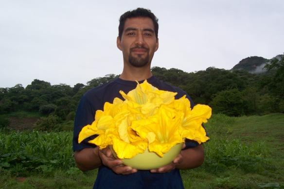 Felipe and Squash Flowers